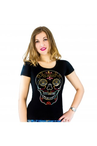 T-shirt with applique Mexican Skull